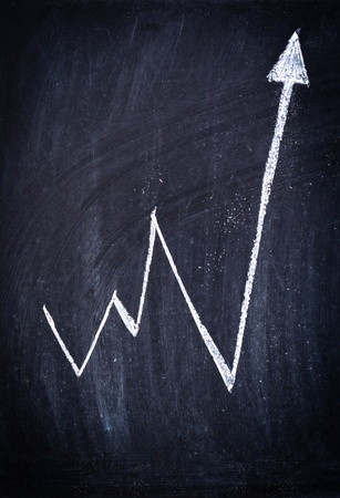 Arrow showing positive income on black board photo