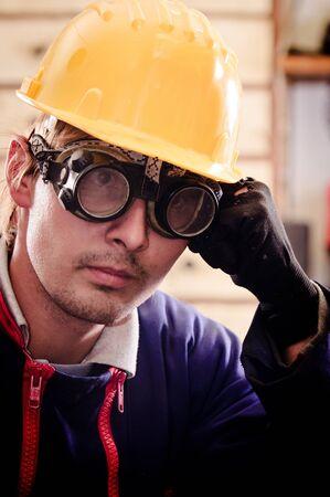 Hard working man in helmet Stock Photo - 12723271