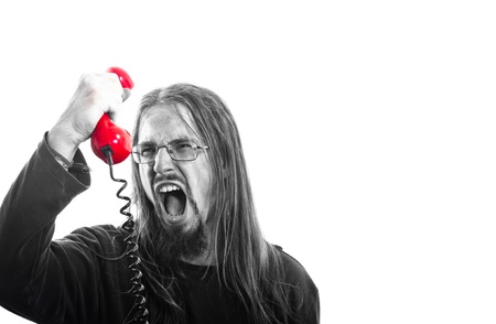 Angry man with phone shouting Stock Photo - 12723265