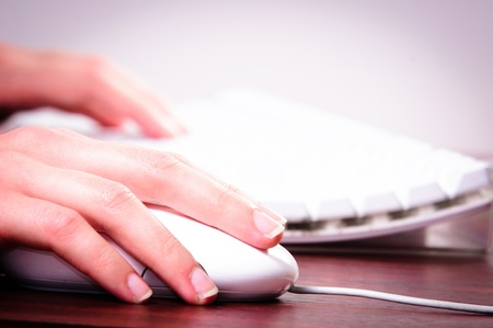 Hands of a woman using mouse and keyboard photo