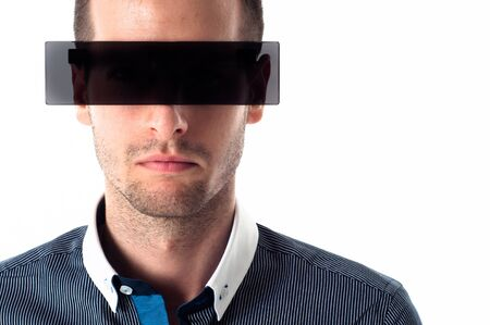 Man with sunglasses against white background photo