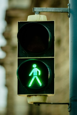 Green pedestrian lamp in the city photo