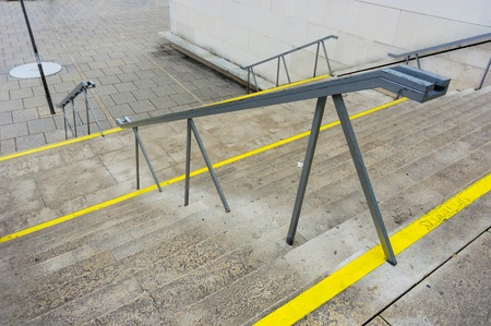 yellow line: Modern stairs with yellow line