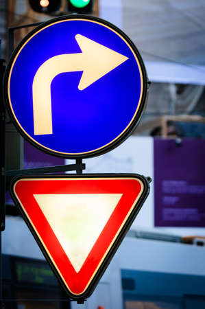 Glowing traffic signs in vibrant colors Stock Photo - 12986877