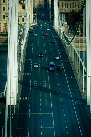 Hungarian bridge aerial view with traffic Stock Photo - 12987161