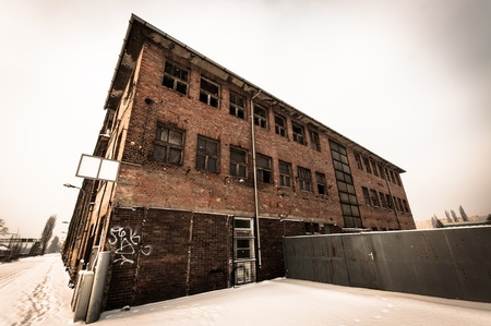 abandoned factory: Large industrial building