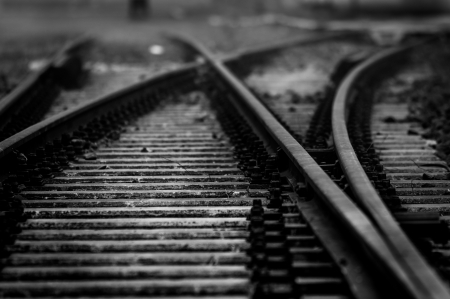 Railway closeup in black and white