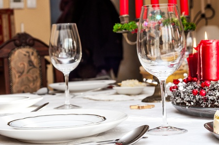 Holiday table setting with blurry background photo