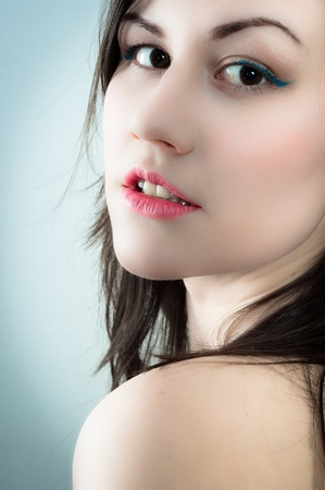 Closeup of a fashion model in cool colors photo