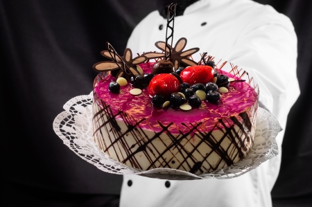 cake against dark background