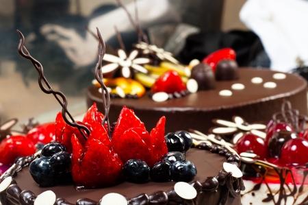 chocolate tart: Cakes on blurry backgroun