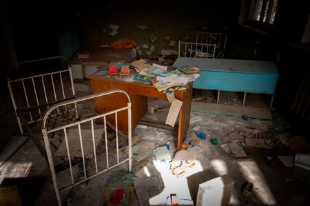 Abandoned nursery with toys at Chernobyl in the dark Stock Photo - 13602176