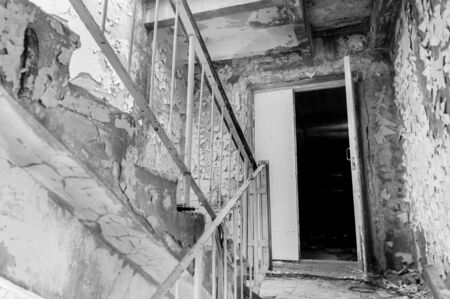 Abandoned staircase in the exclusion zone Stock Photo - 13610921
