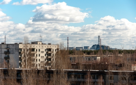 View from pripyat hotel with nuclear power plant Stock Photo - 13610939