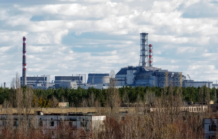 Chernobyl Nuclear Power Plant from afar, 2012 March 14 Stock Photo - 13610762