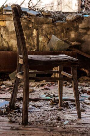 Old chair in pripyat Nursery closeup Stock Photo - 13610772