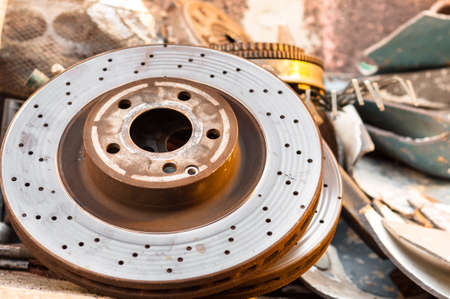 Rusty old car parts with metal junk Stock Photo - 13610934