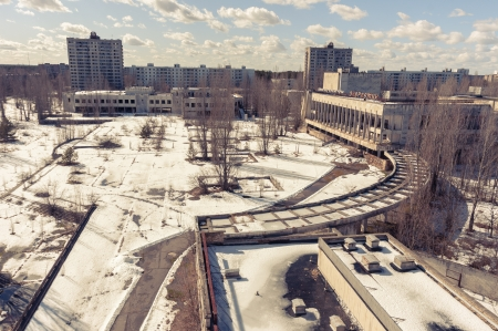 Vintage photo of an abandoned city in the winter Stock Photo - 13611455