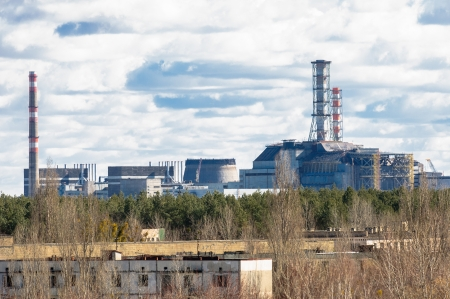 Chernobyl Nuclear Power Plant from afar, 2012 Stock Photo - 13611361
