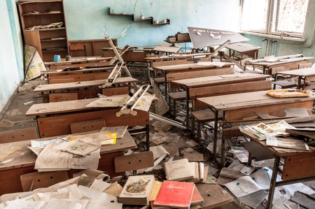 Abandoned school in Chernobyl 2012 March 14 Stock Photo - 13611432