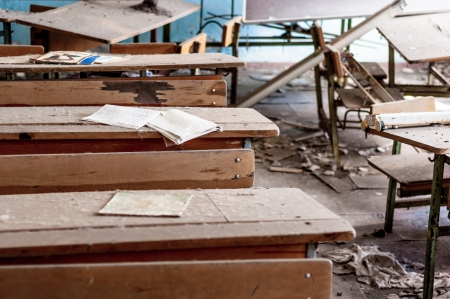 Abandoned school in Chernobyl 2012 March 14 Stock Photo - 13611423