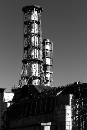The Chernobyl Nuclear Power plant, 2012 March in black and white photo