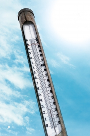 Old thermometer against blue sky Stock Photo - 13611330