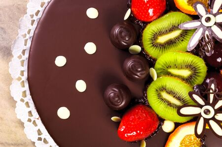 Top of a cake with fresh fruits photo