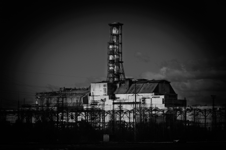 The Chernobyl Nuclear Power Plant, 2012 March 14 in black and white Stock Photo - 14301852
