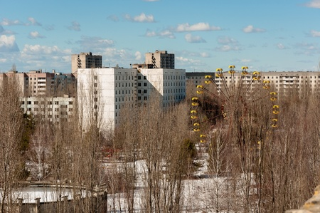 Abandoned city with blue sky in Chernobyl