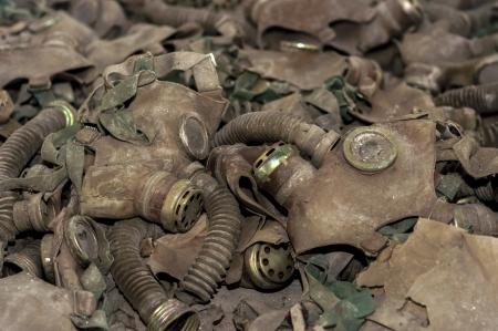 Vintage photo of many gasmasks photo