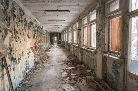 Abandoned corridor in pripyat school 2012
