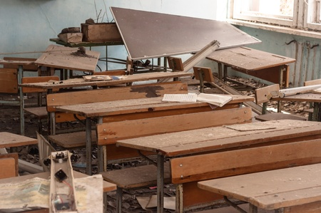 Abandoned school in Chernobyl 2012 March 14 Stock Photo - 14301987