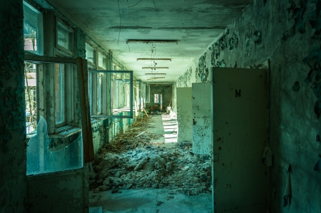 Abandoned corridor in pripyat school 2012 photo