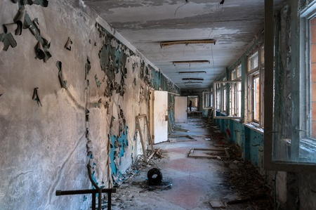 Abandoned corridor in pripyat school 2012 Stock Photo - 14296315