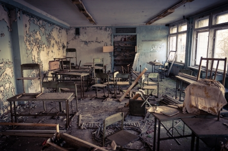 Abandoned school in Chernobyl 2012 March 14 Stock Photo