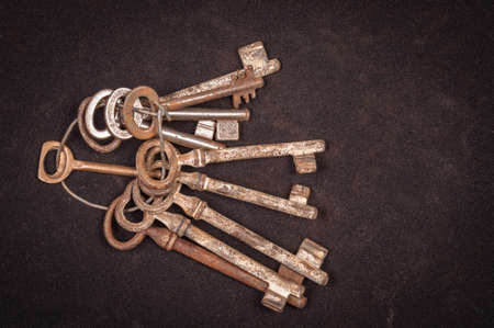 A large group of rusty keys closeup photo
