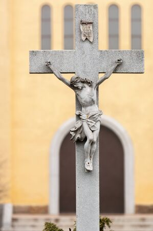 Jesus on a cross statue at a church photo