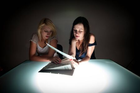 Conceptual photo of crime scene investigation with two girls Stock Photo - 15213842