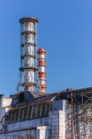 The Chernobyl Nuclear power plant against blue sky Stock Photo - 15026018