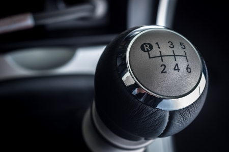 gear handle: Closeup photo of car interiors in bright light