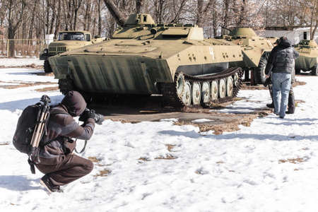 Military vehicle in chernobyl in the winter photo