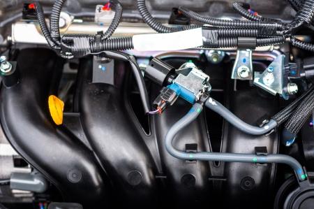 camshaft: Closeup photo of a clean motor block