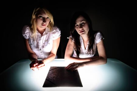 Conceptual photo of crime scene investigation with two girls Stock Photo - 15941769