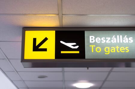 Departure sign at airport glowing photo