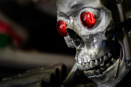Dark human skull with glowing eyes closeup Stock Photo - 15998403