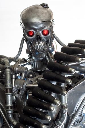 terminator: War machine against white background closeup