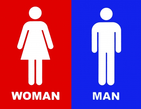 Art of a Toilet sign in red and blue photo