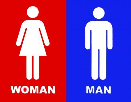 simbolo hombre mujer: Arte de un signo WC en rojo y azul Foto de archivo