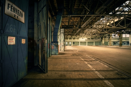 An abandoned industrial interior in dark colors Stock Photo - 17110433